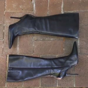 Guess by Marciano Carla Black Leather Heel Boots